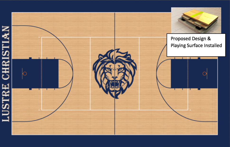 Gym floor renovation lustre christian high school for Basketball gym floor plan